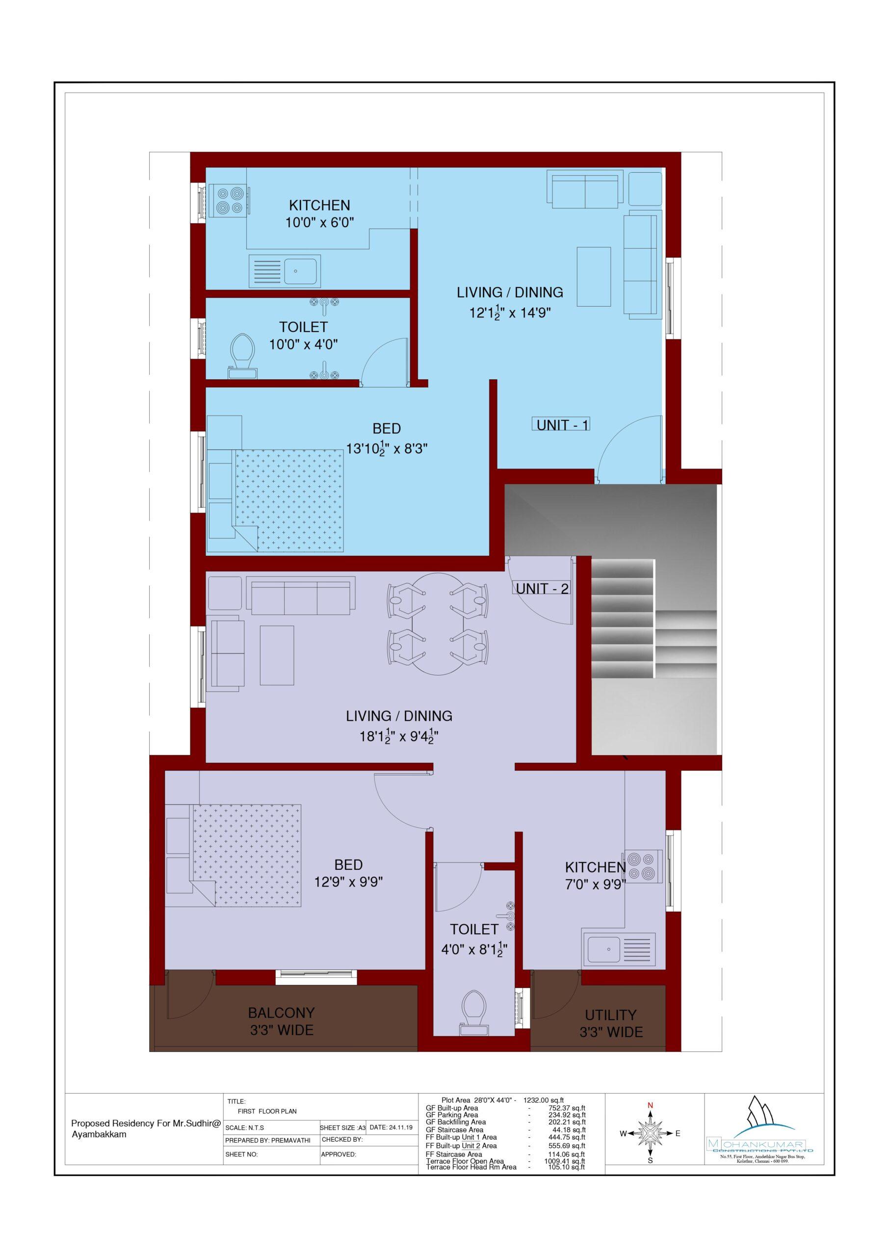 1300 sqft house plan
