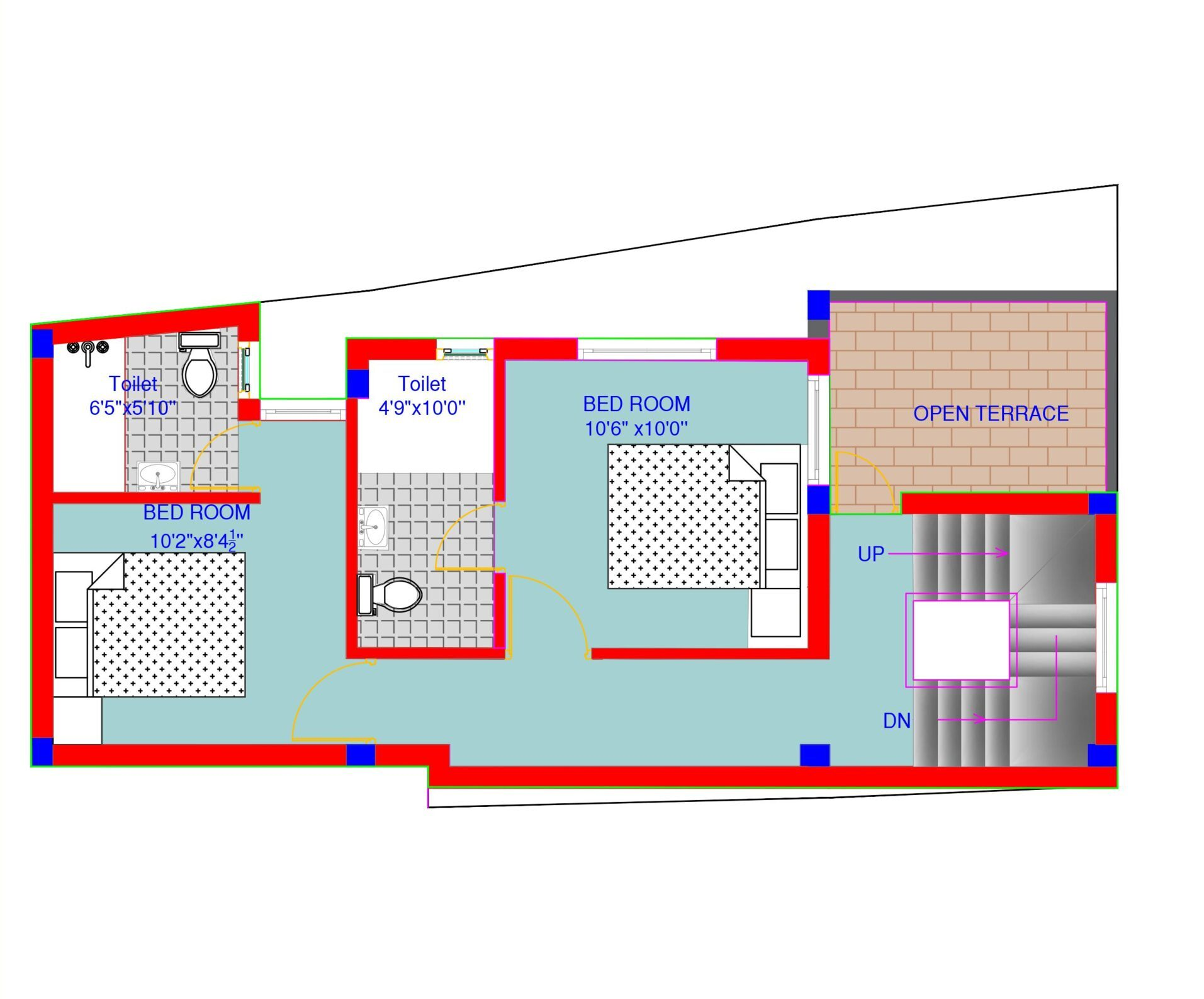 650 sq.ft duplex house plan