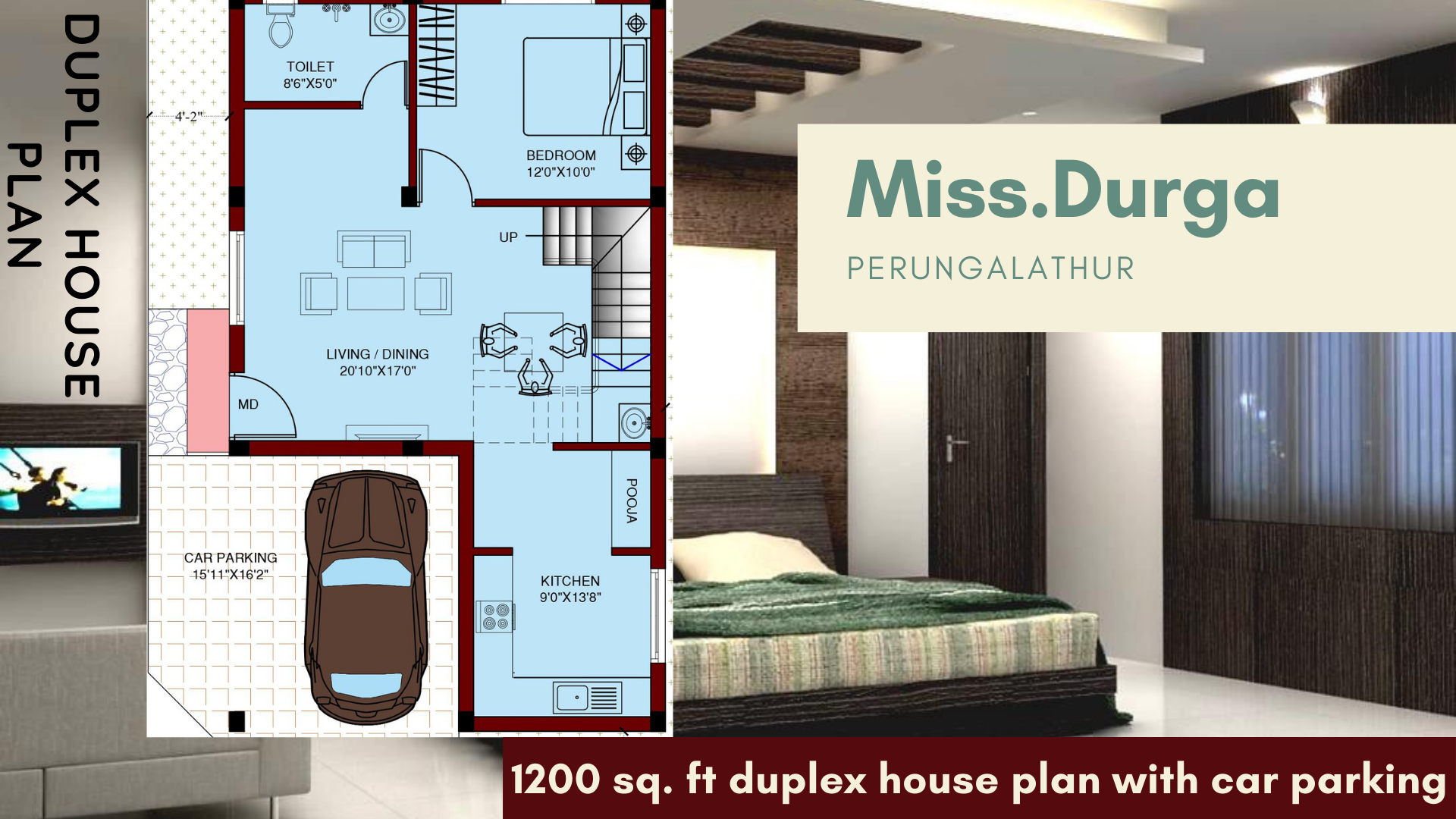 duplex house plan 1200 sq.ft